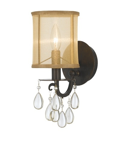 Gold Coast Lighting English Bronze Wall Sconce with Etruscan Smooth Oyster Crystals