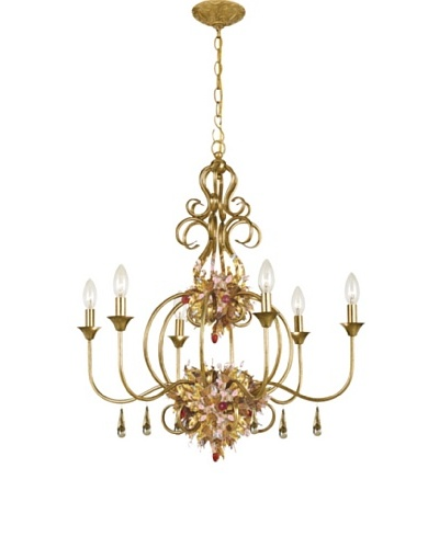 Gold Coast Lighting 6 Light Fiore Chandelier Antique Gold