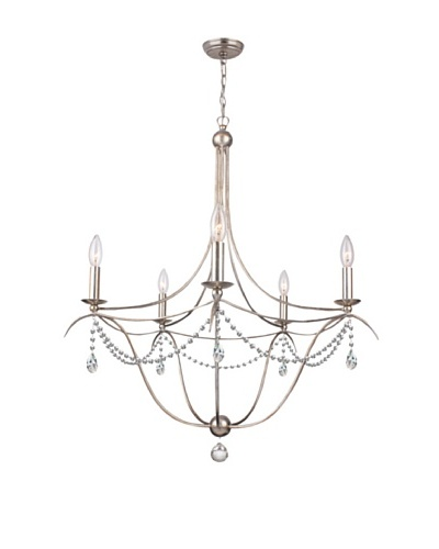 Gold Coast Lighting Antique Silver Chandelier draped with Hand Cut Crystals