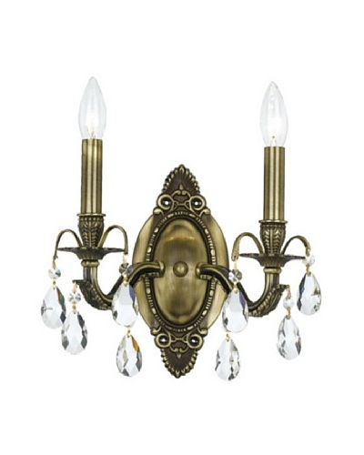 Brass Wall Sconce with Swarovski SPECTRA Crystals
