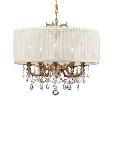 Gold Coast Lighting Ornate Chandelier with Shade, Aged Brass