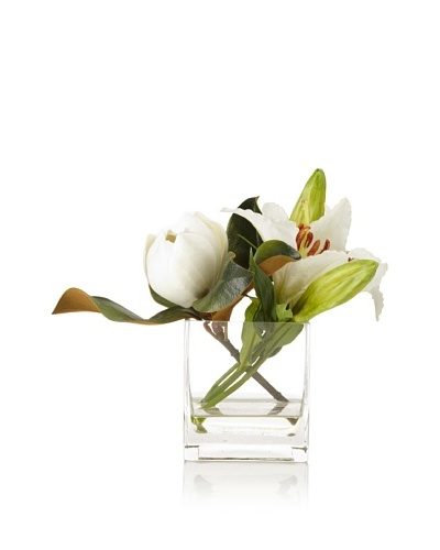 Winward Magnolia Lily In Square Vase
