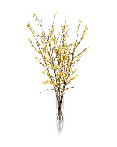 New Growth Designs Faux Forsythia Branches in Vase, Yellow