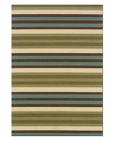 Granville Rugs Monterey Indoor/Outdoor Area Rug [Green/Blue/Cream/Brown]