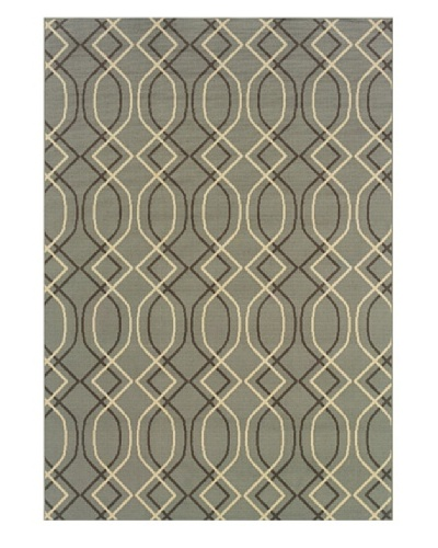 Granville Rugs Fiji Indoor/Outdoor Area Rug [Grey/Slate Blue/Cream]