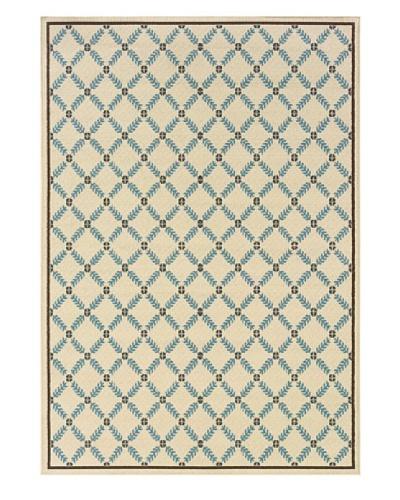 Granville Rugs Coastal Indoor/Outdoor Area Rug [Ivory/Blue/Brown]