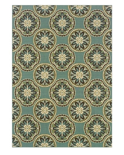 Granville Rugs Monterey Indoor/Outdoor Area Rug [Blue/Cream/Brown]