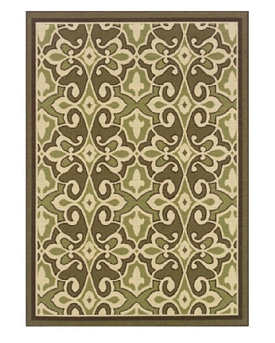 Granville Rugs Monterey Indoor/Outdoor Area Rug [Green/Cream/Brown]