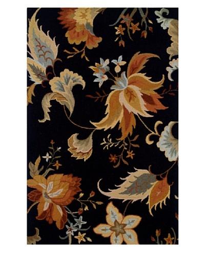 Granville Rugs Floral Garden Rug [Black/Multi]