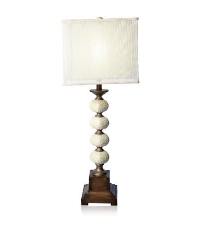 Seagrove Table Lamp, Silver/Worn Wood
