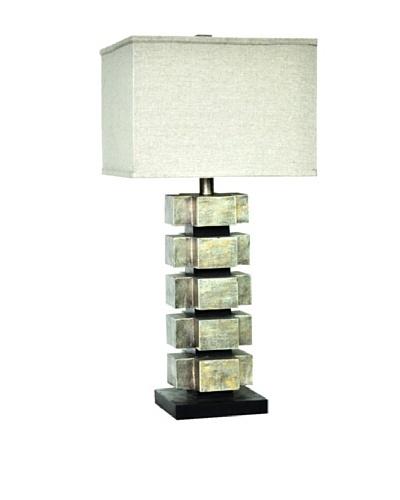 Greenwich Lighting Cinder Block Table Lamp, Silver Leaf