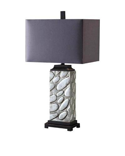 Greenwich Lighting Alden Table Lamp, Polished Aluminum/Black Nickel