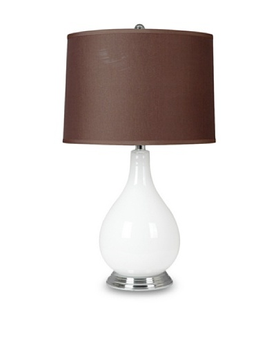 Greenwich Lighting Cameo Table Lamp, White/Nickel