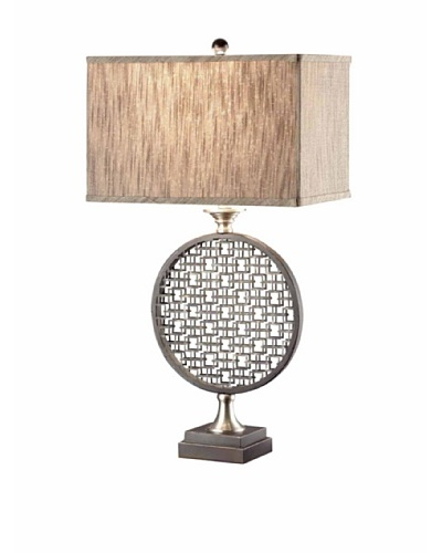 Greenwich Lighting Geo Ring Table Lamp, Brushed Nickel/Black Metal