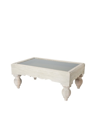 GuildMaster Shadow Box Coffee Table, Lime Wash/Olive
