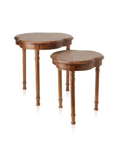 Guildmaster Set of 2 Clover Nesting Tables, Medium Brown