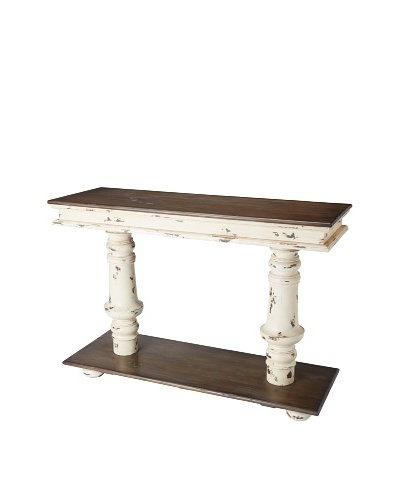 GuildMaster Console Pedestal Table, Off-White/Medium Brown