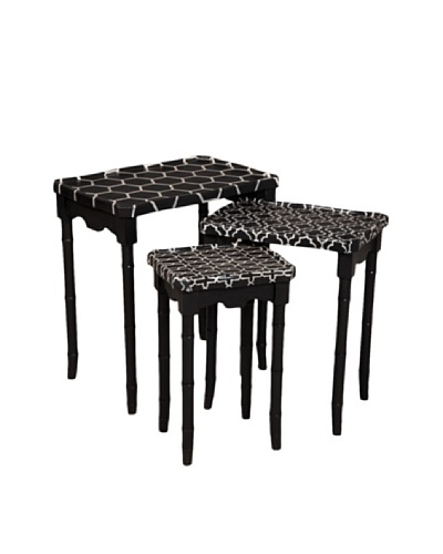 Guildmaster Set of 3 Bamboo-Inspired Nesting Tables
