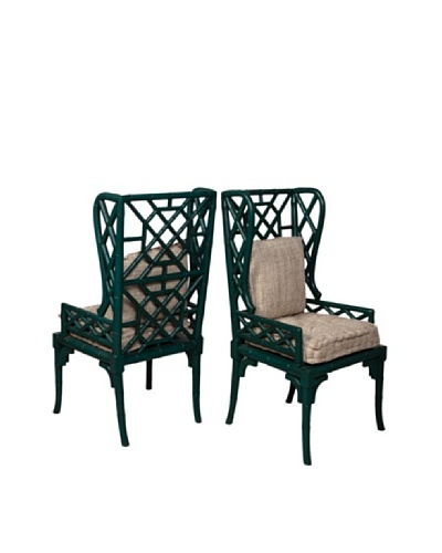 Guildmaster Set of 2 Bamboo-Inspired Wing Back Chairs