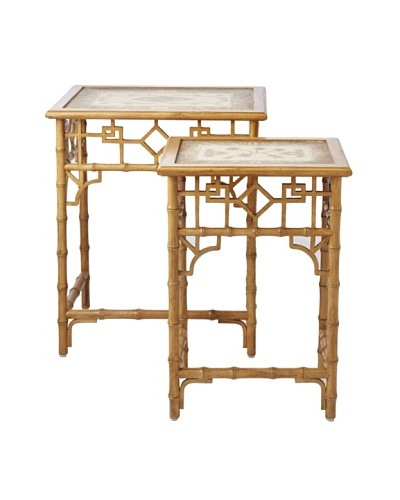 GuildMaster Set of 2 Global Bamboo Nesting Tables, Natural/Grey
