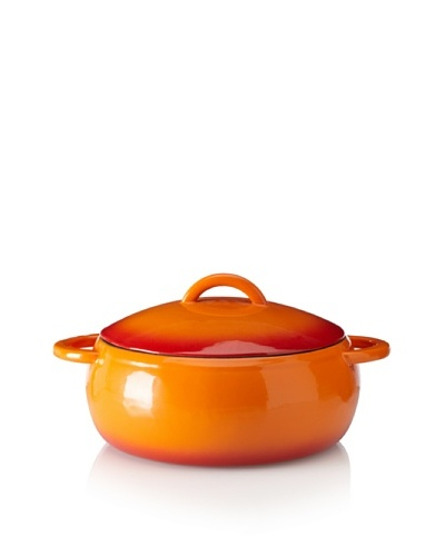 Guro Cast Iron Round 152-Oz. Enamel Coated Pot, Orange/Red