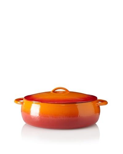 Guro Cast Iron Oval 270-Oz. Enamel Coated Pot, Red/Orange