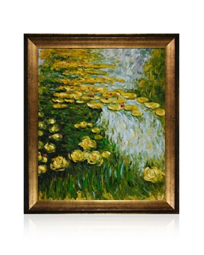 Hand-Painted Reproduction of Claude Monet Water Lilies Framed Oil Painting, 20 x 24