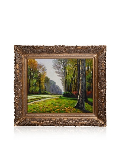 Hand-Painted Reproduction of Claude Monet The Road to Bas-Breau, Fontainebleau Framed Oil Painting, ...