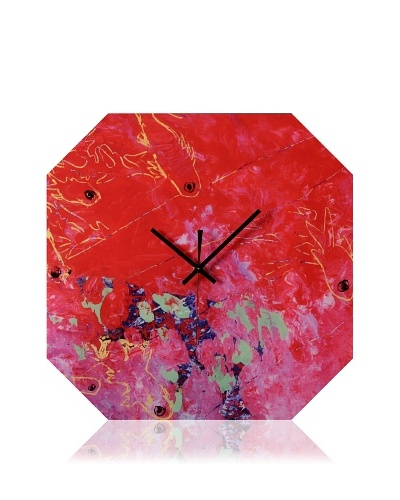 HangTime Designs Koi Fish Octa Wall Clock, Red