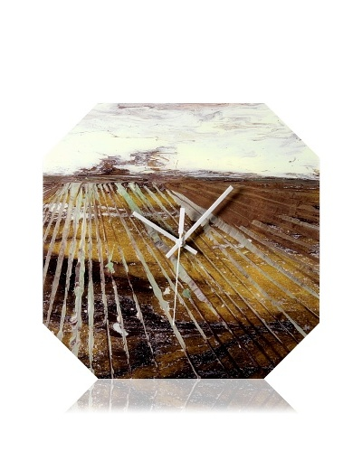 HangTime Designs Counting Rows Octa Wall Clock, Brown
