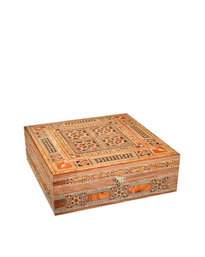 Hannibal Enterprises Handmade Wood Inlay & Mother of Pearl Square Box