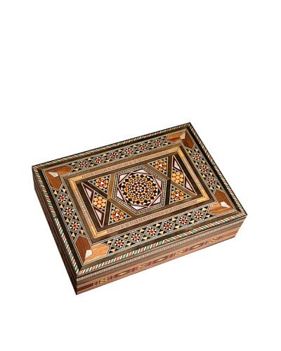 Hannibal Enterprises Handmade Wood Inlay & Mother of Pearl Rectangular Box