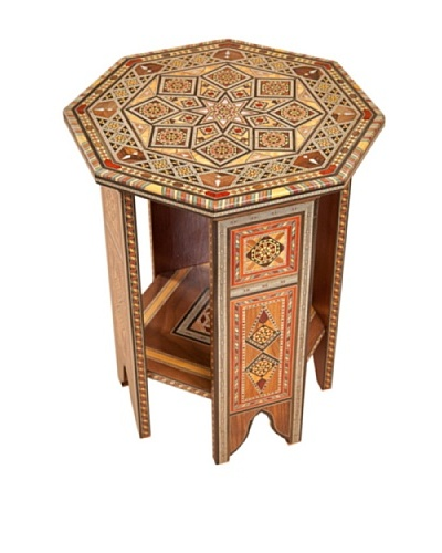 Hannibal Enterprises Handmade Wood Inlay & Mother of Pearl Octagonal Table Open-sided