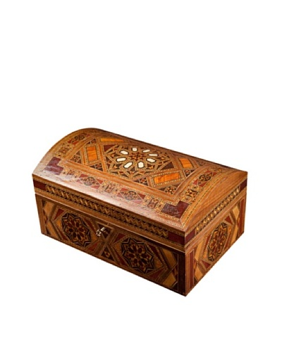 Hannibal Enterprises Handmade Wood Inlay & Mother of Pearl Jewelry Box