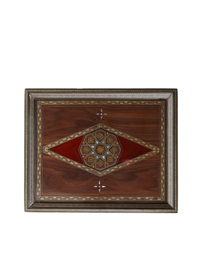 Hannibal Enterprises Handmade Wood Inlay & Mother of Pearl Rectangular Tray