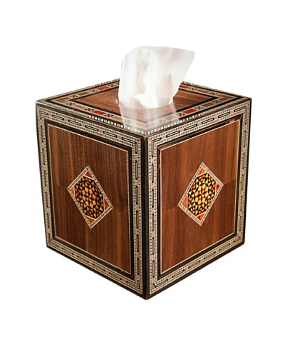 Hannibal Enterprises Handmade Wood Inlay & Mother of Pearl Tissue Box