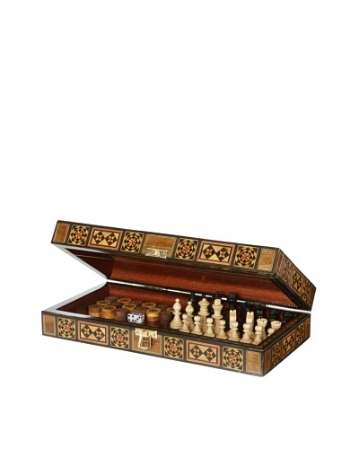 Hannibal Enterprises Handmade Wood Inlay & Mother of Pearl Backgammon/Chess/Checkers