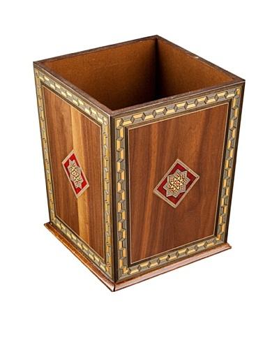 Hannibal Enterprises Handmade Wood Inlay & Mother of Pearl Waste Basket