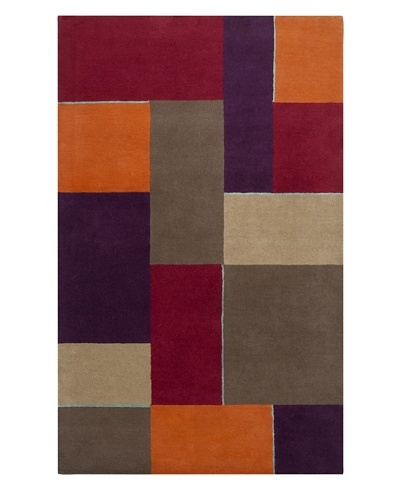 Harlequin New Zealand Wool Rug, Slate Gray/Raspberry Wine [Slate/Wine/Khaki/Dark Taupe]