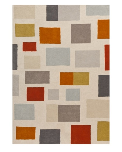 Harlequin New Zealand Wool Rug [Gray/Paprika/Ochre/Tan]