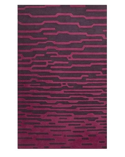 Harlequin New Zealand Wool Rug, Aubergine/Raspberry Rose, 5' x 8' [Aubergine/Raspberry Rose]