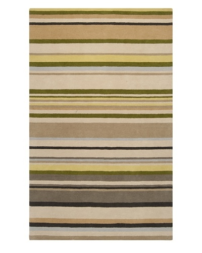 Harlequin New Zealand Wool Rug, Avocado/Midnight Green/Gold, 5' x 8' [Avocado, Midnight Green, Gold,...