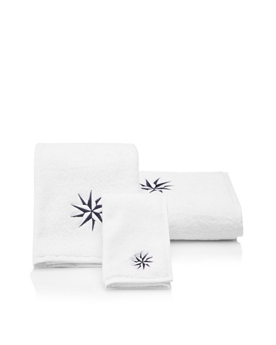 Haute Home Compass Star Terry Towel Set, Navy/White