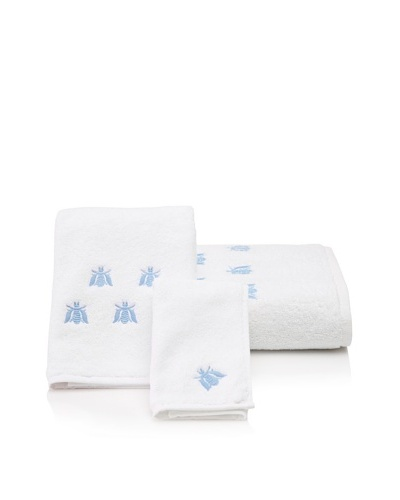 Haute Home Bees Terry Towel Set, Blue