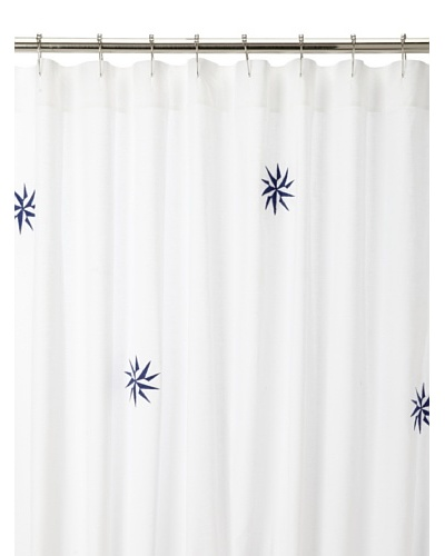 Haute Home Compass Star Shower Curtain, Navy/Aqua