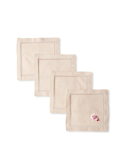 Henry Handwork Set of 4 Orchid Genevieve Hand Embroidered Cocktail Napkins