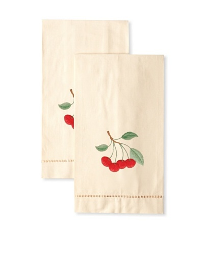 Henry Handwork Set of 2 Hand-Embroidered Cotton Cherries Hand Towels