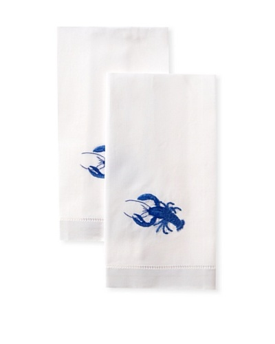 Henry Handwork Set of 2 Lobster Hand Embroidered Hand Towels