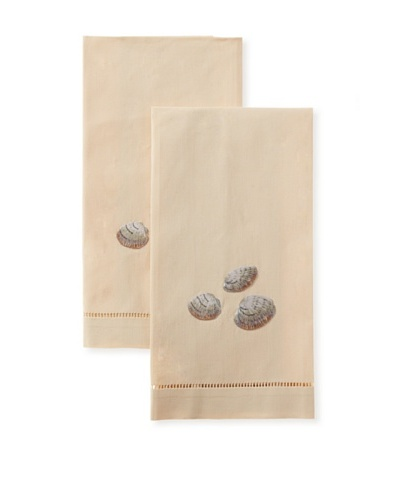 Henry Handwork Set of 2 Shell Clams Hand Embroidered Hand Towels