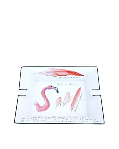 Hermès Flamingo Zoologist Field Notes Ashtray, White/Pink